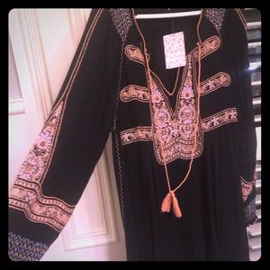 NWT Free People embroidered long sleeve dress S